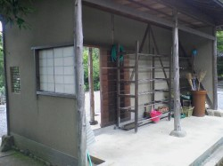 ...and doubles as a tool shed.  Built and finished with earthen plaster.